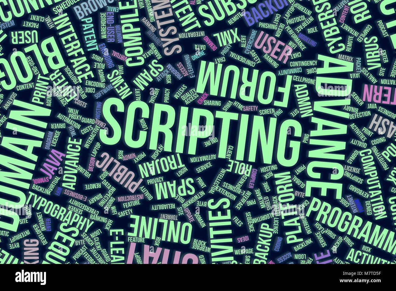 Scripting, IT, information technology conceptual word cloud