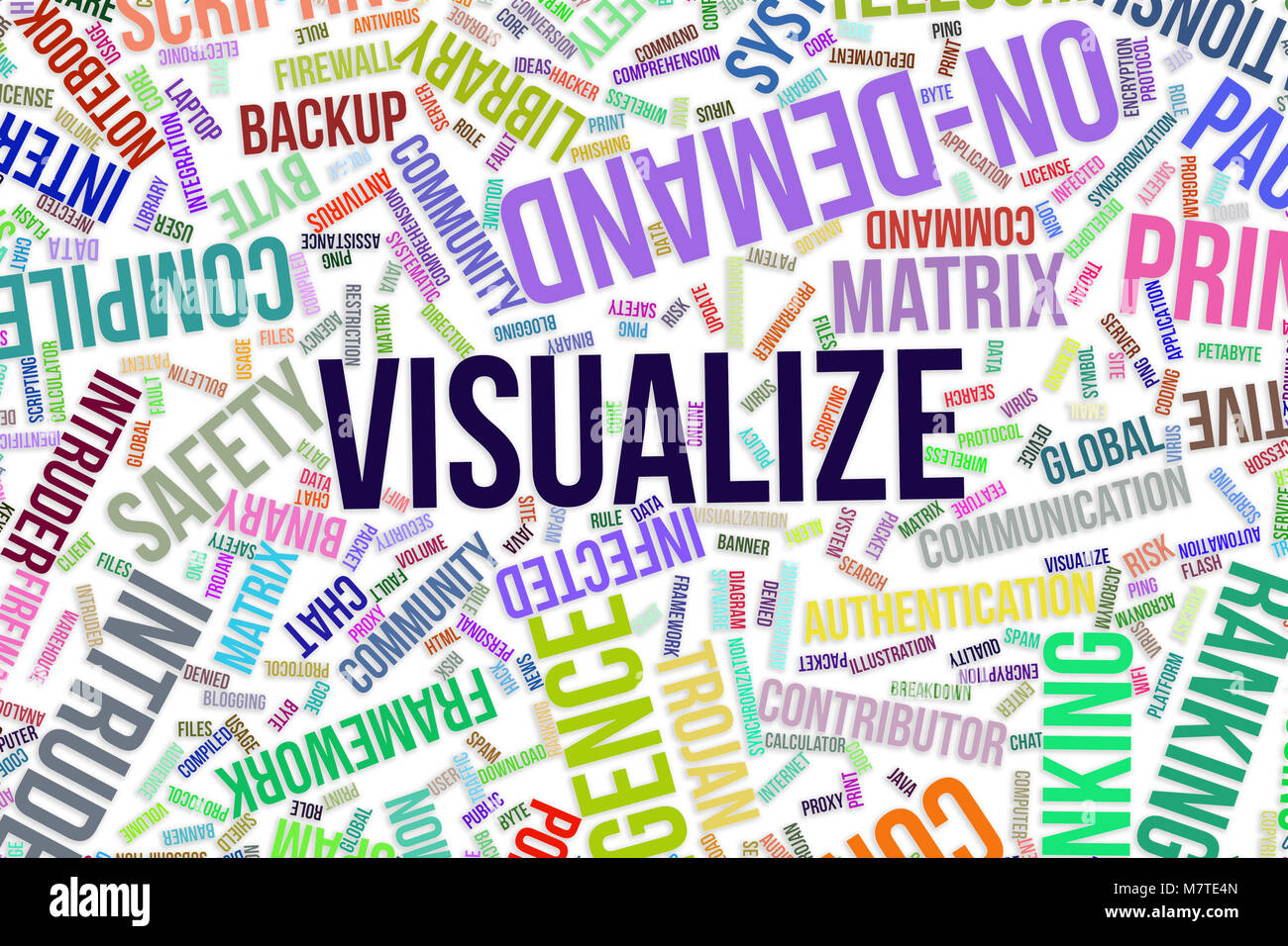 Visualize, IT, information technology conceptual word cloud for for design wallpaper, texture or background - Stock Image