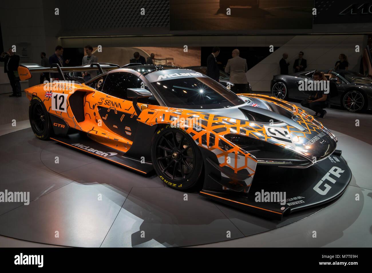 GENEVA, SWITZERLAND - MARCH 6, 2018: McLaren Senna GTR sports car reveiled at the 88th Geneva International Motor - Stock Image