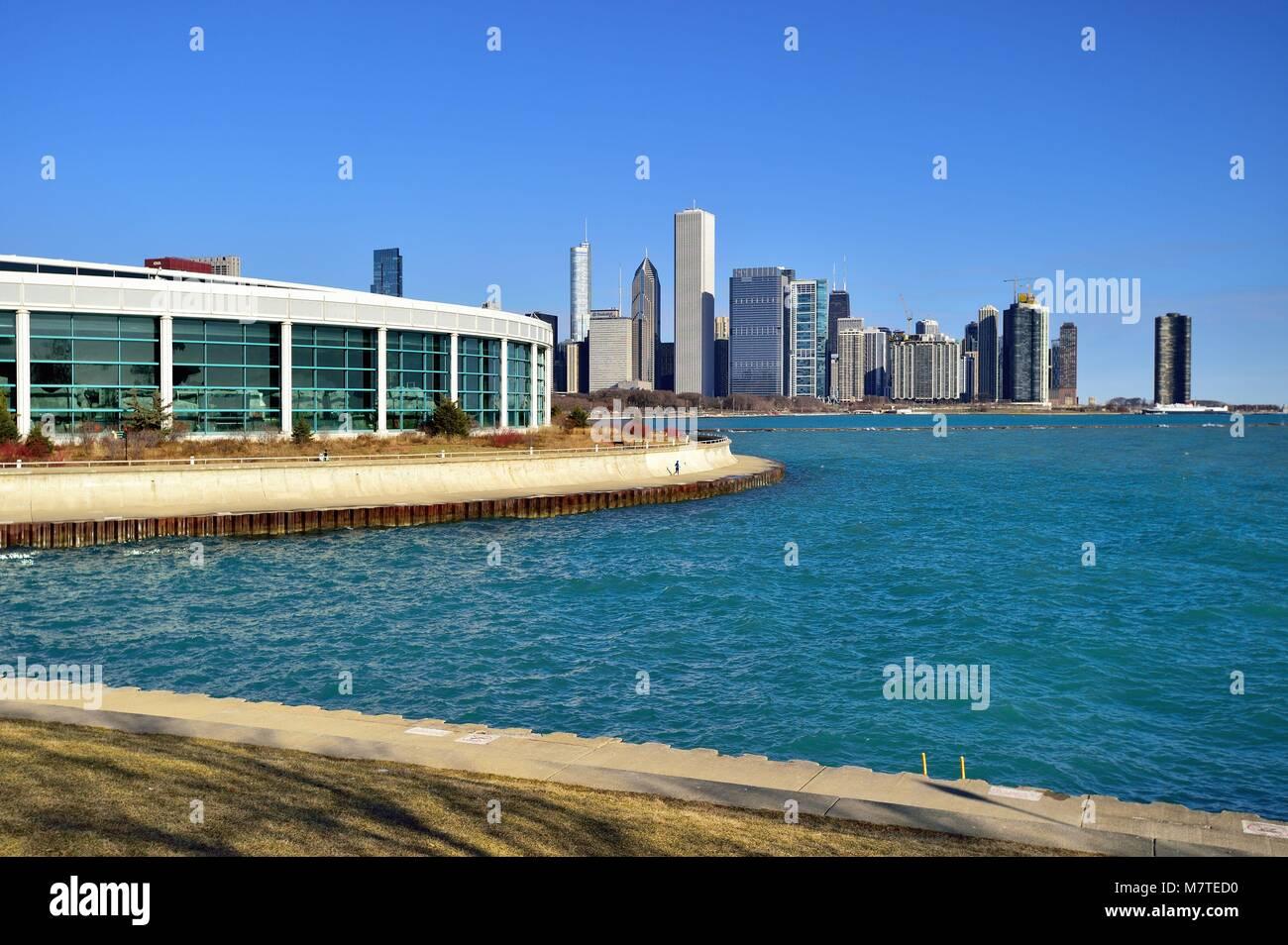 Chicago, Illinois, USA. The Shedd Aquarium (formally the John G. Shedd Aquarium) is an indoor public aquarium in - Stock Image