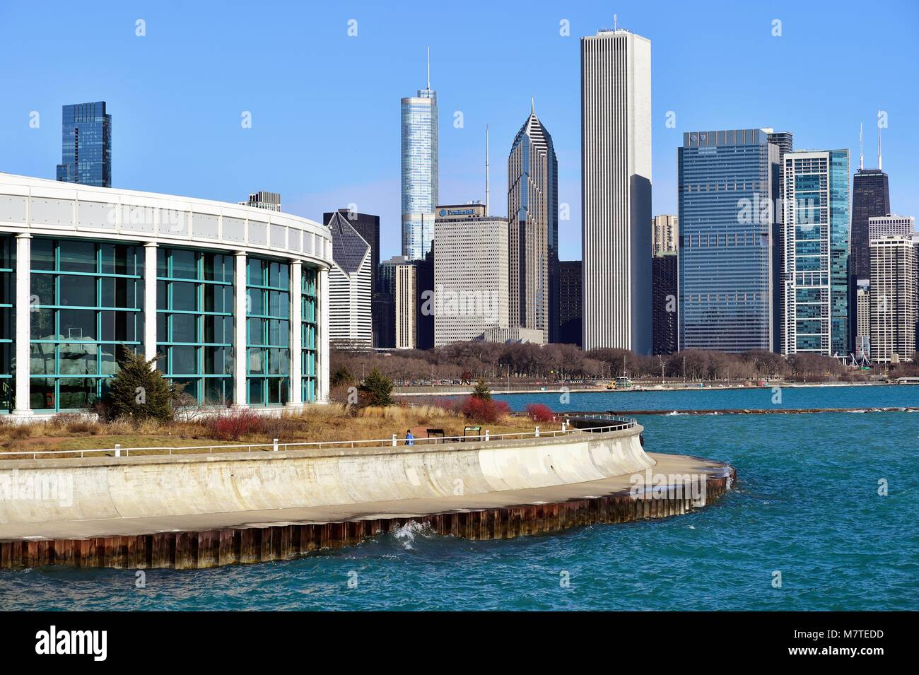 Chicago, Illinois, USA. The Shedd Aquarium, at left, (formally the John G. Shedd Aquarium) in Chicago located just - Stock Image