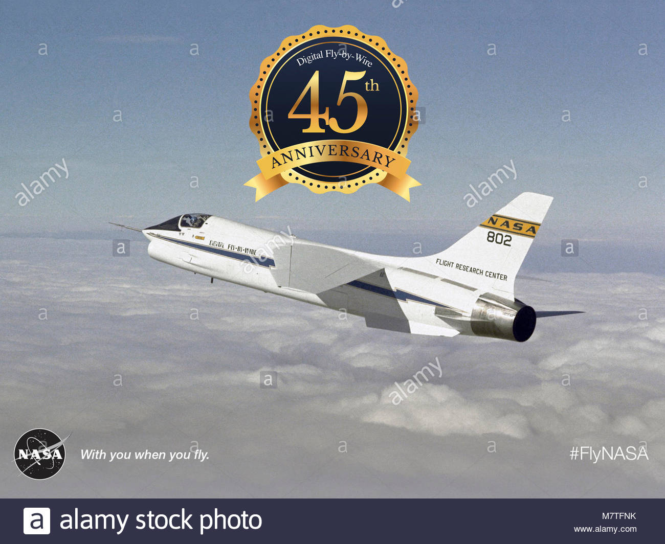 45th Anniversary of the Digital Fly-by-Wire First Flight. The F-8 Digital Fly-By-Wire flight research project validated Stock Photo