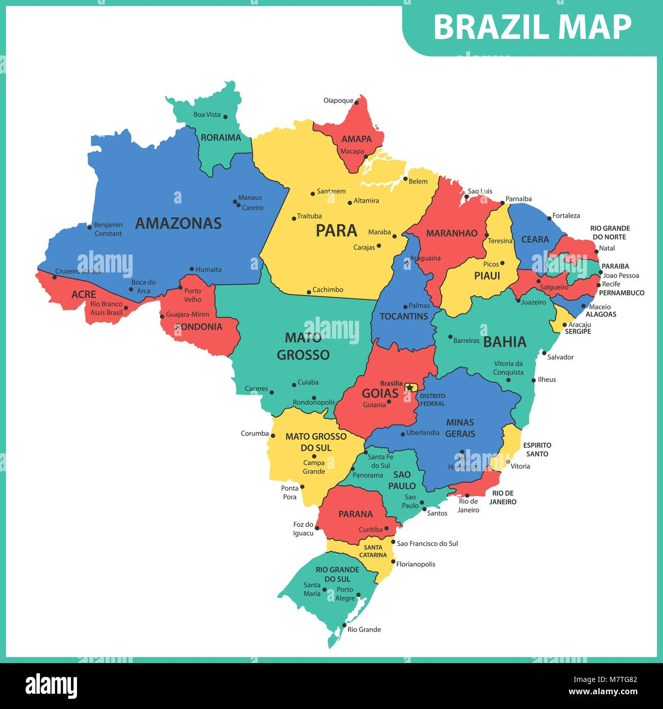 The detailed map of the Brazil with regions or states and ...