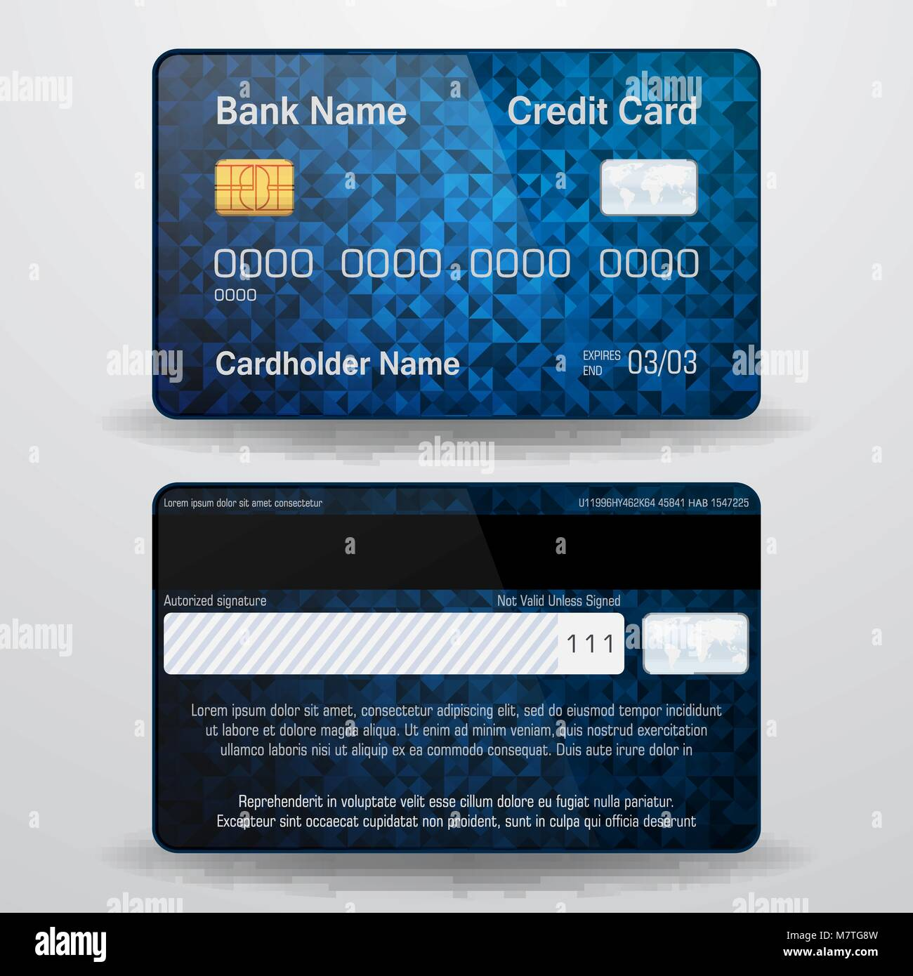 Detailed Realistic Vector Credit Card. Front And Back Side
