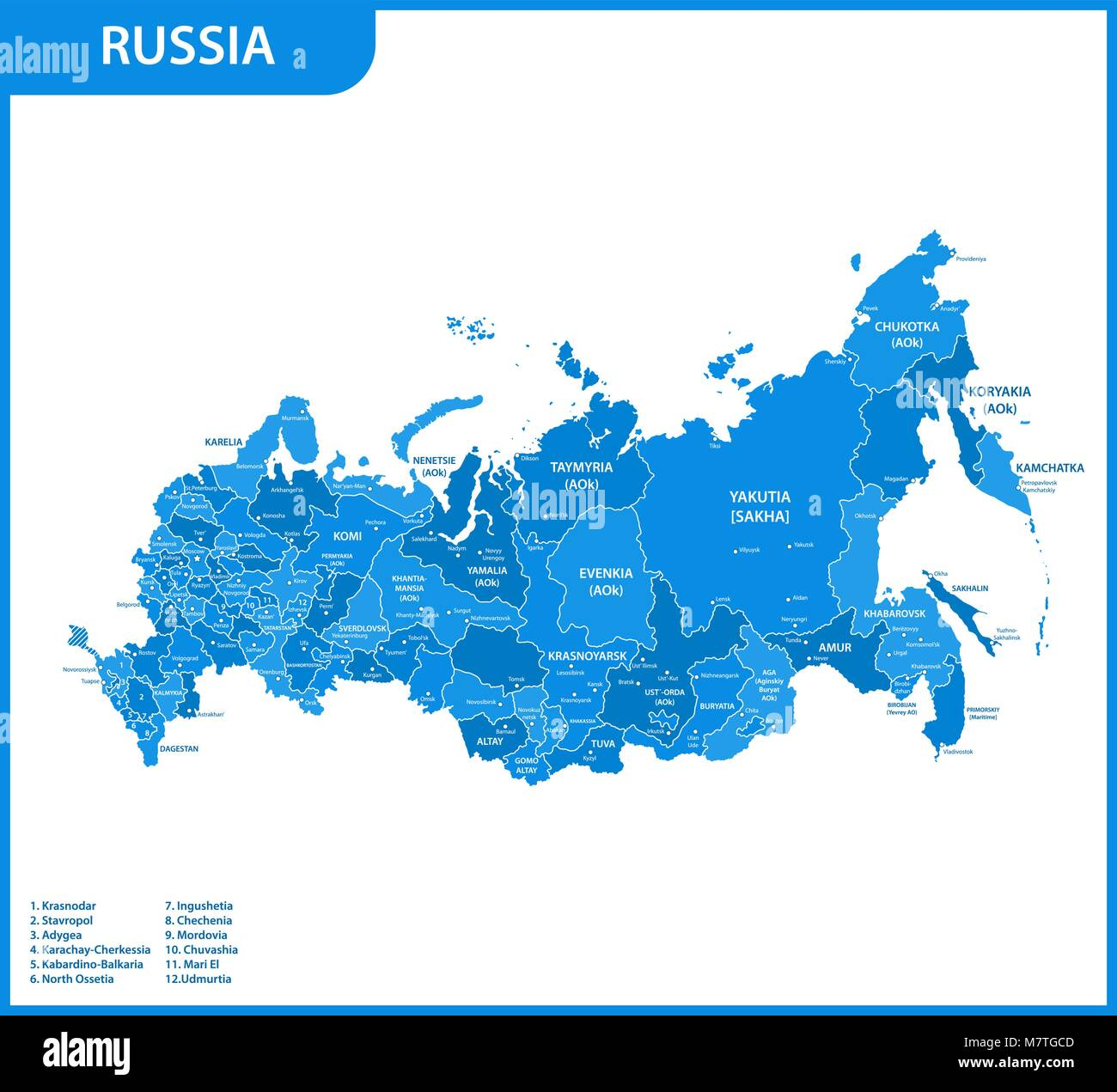 The detailed map of the Russia with regions or states and cities, capitals. Russian Federation - Stock Image