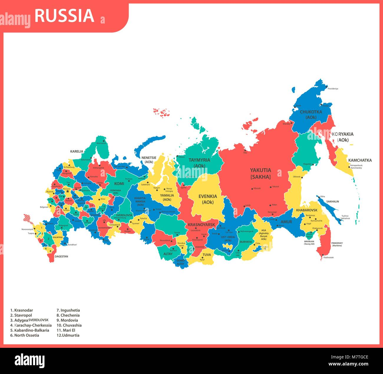 The detailed map of the Russia with regions or states and ...