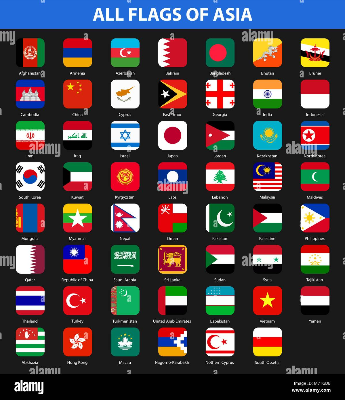 All flags of the countries of the Asia. Flat style - Stock Vector