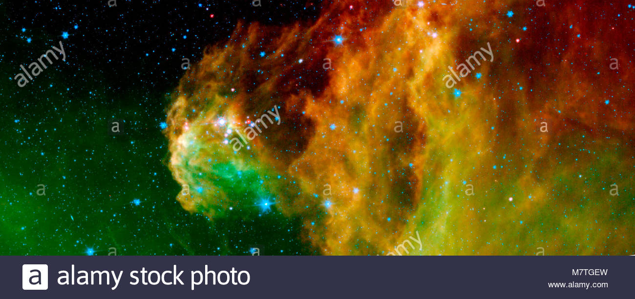 Barnard 30 • Orion. This image from NASA's Spitzer Space Telescope shows infant stars hatching in the head of - Stock Image