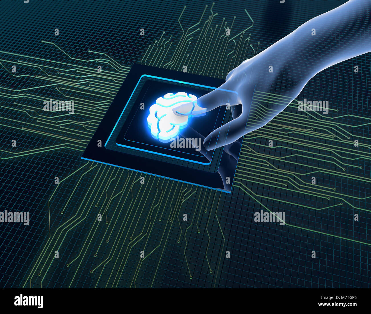 Human Science and Technology Intelligence, Electronic Circuit Processors, Smart Chips,cerebrum - Stock Image
