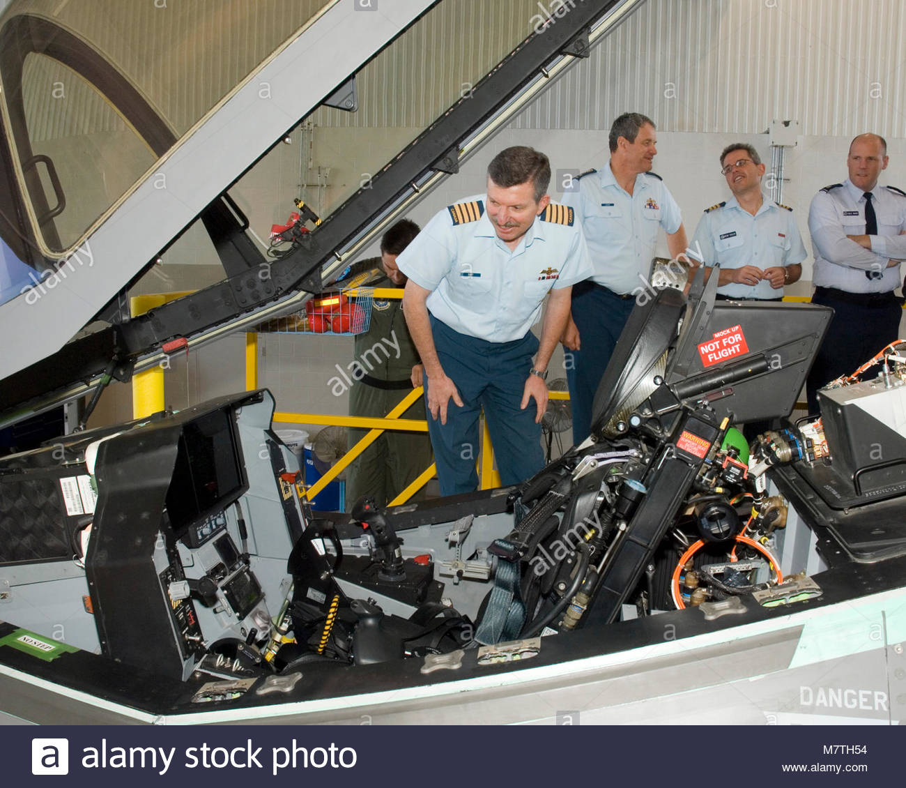CAS Visit. Colonel Dave C. Burt, Director Air Requirement, poses behind the cockpit of the new F-35 Joint Strike - Stock Image