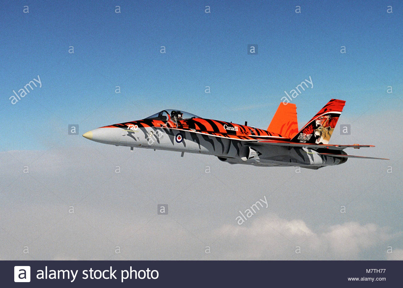 CF 188 Demo AC. A CF-188 Hornet fighter jet piloted by Capt. Travis Brassington of 410 Cougar Squadron flies over - Stock Image