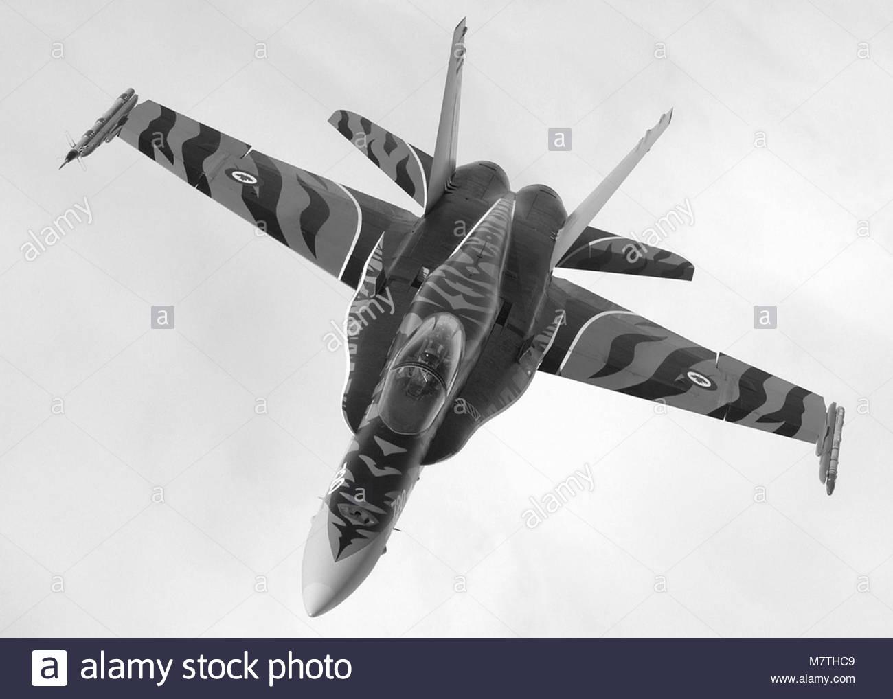 CF-18 Tiger Bird. September / septembre  2004   CFB / BFC Cold Lake, Alberta  Demonstration Team Pilot Captain Travis - Stock Image