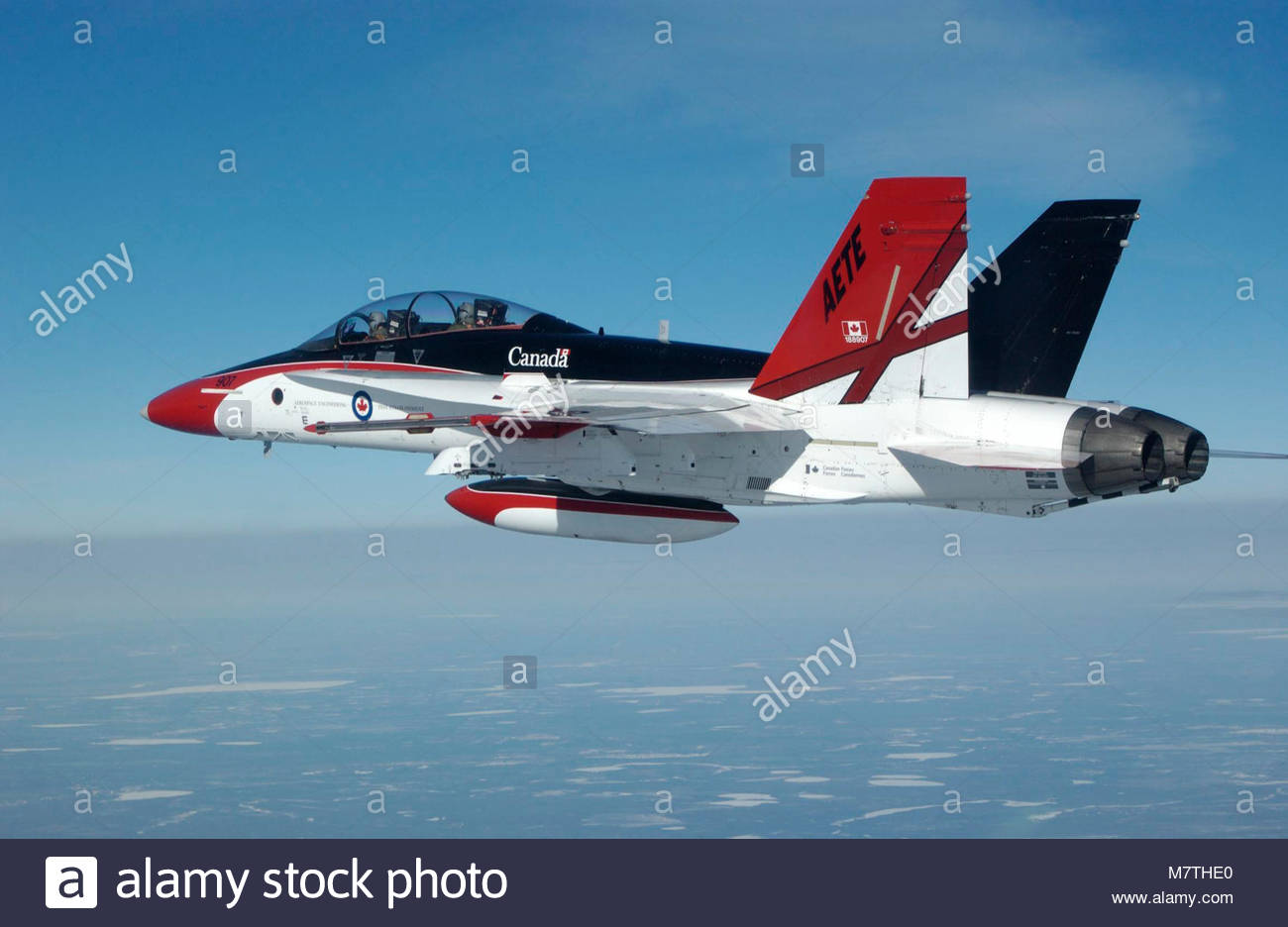 CF-188. CF-188 Colour Bird flown by Maj Andrew Soundy over Cold Lake, Alberta from the Aerospace Engineering Test Stock Photo