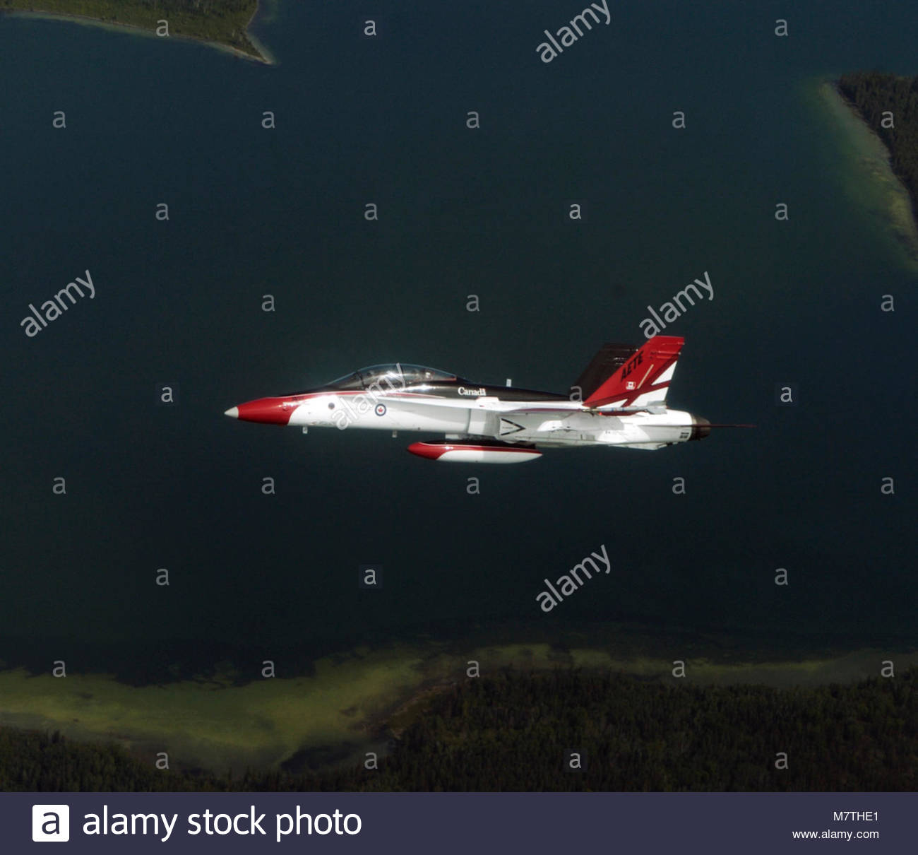 CF-188. CF-188 Colour Bird flown by Maj Andrew Soundy over Cold Lake, Alberta from the Aerospace Engineering Test - Stock Image
