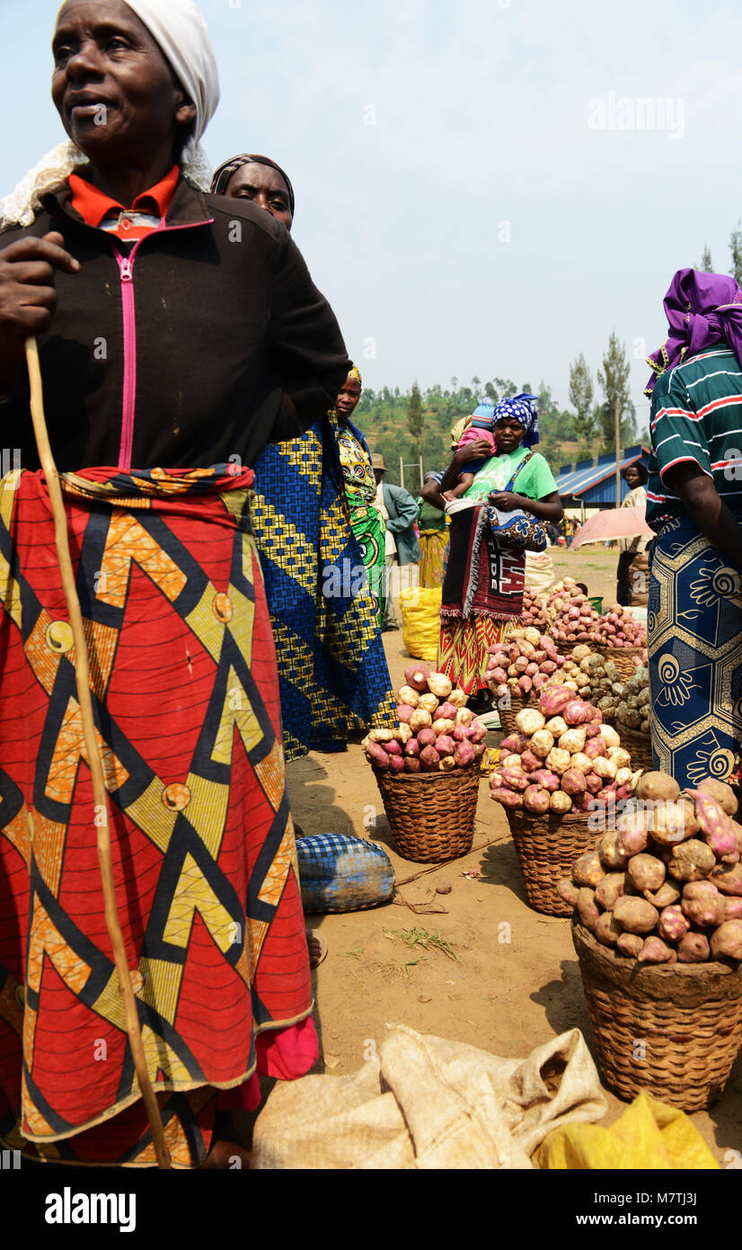Freshly picked sweet potatoes sold in a local market in north western Rwanda. Stock Photo