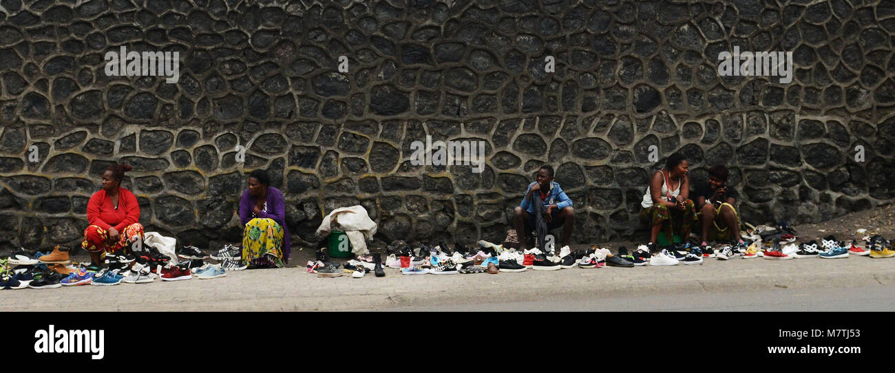 Shoe market in Goma, D.R.C - Stock Image