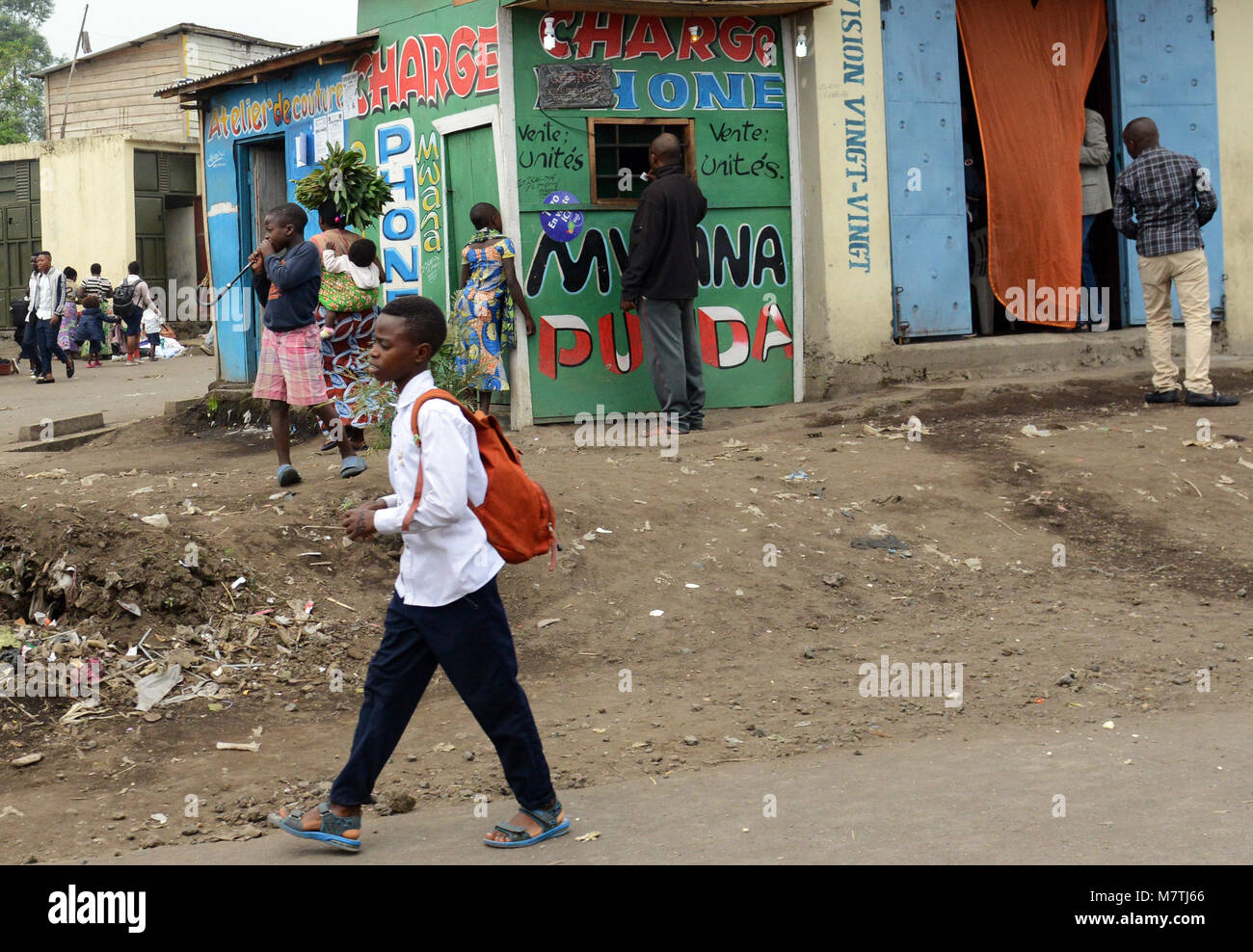 Life along the streets of Goma, D.R.C - Stock Image