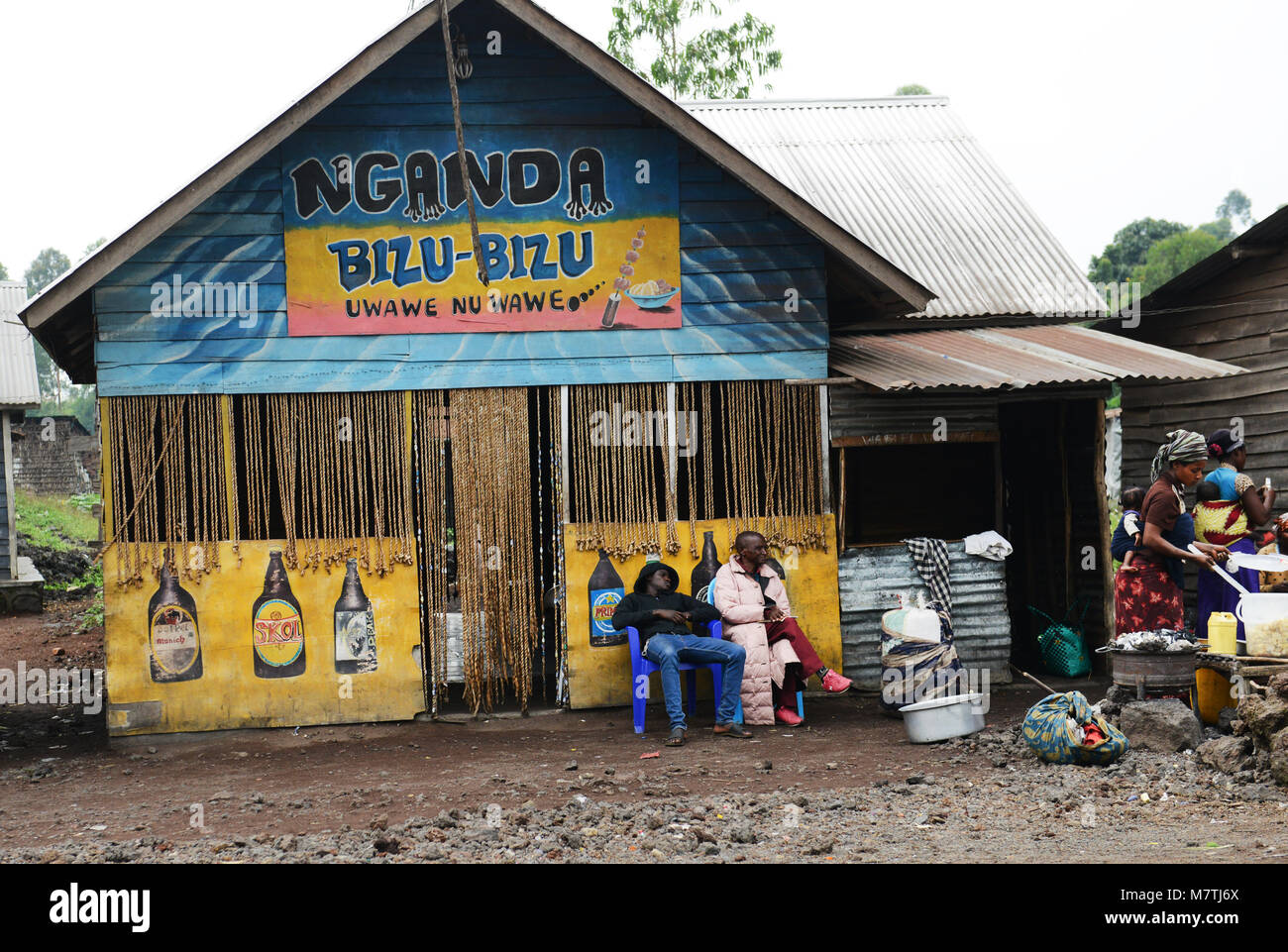 A local bar in the outskirts of Goma. - Stock Image