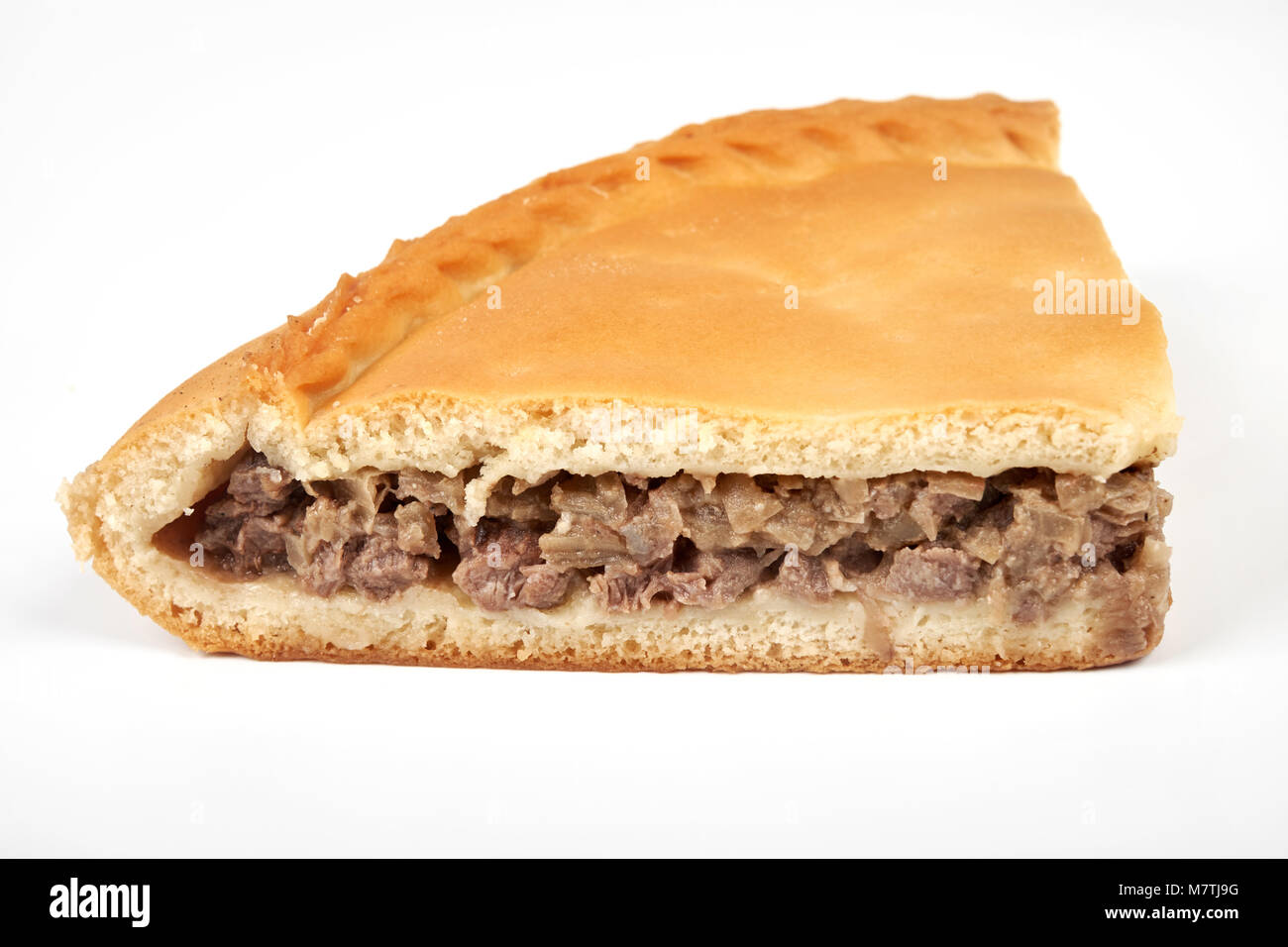 meat pie, isolated on white background - Stock Image