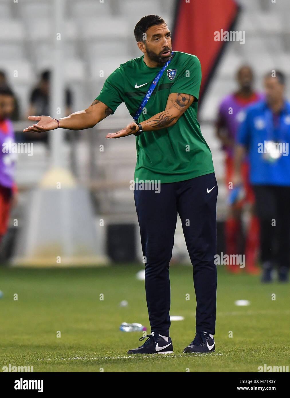(180313) -- DOHA, March 13, 2018 (Xinhua) -- Al-Hilal's head coach Juan Ignacio Brown reacts during the AFC Champions Stock Photo
