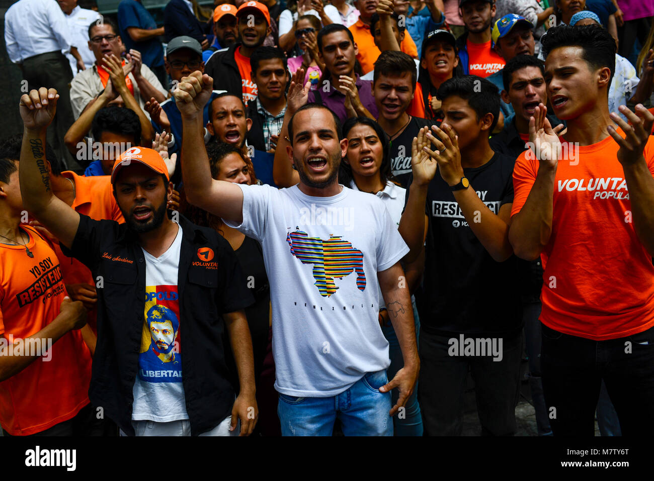 12 March 2018, Venezuela, Caracas: Activists protest in front of the UN headquarters in Caracas. The opposition - Stock Image