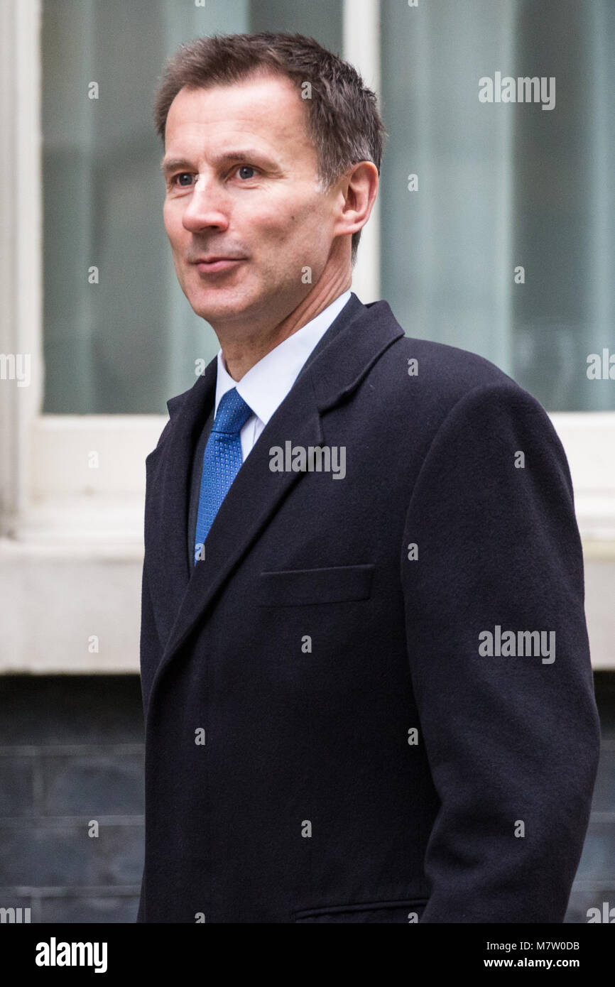 London, UK. 13th March, 2018. Jeremy Hunt MP, Secretary of State for Health and Social Care, arrives at 10 Downing Stock Photo