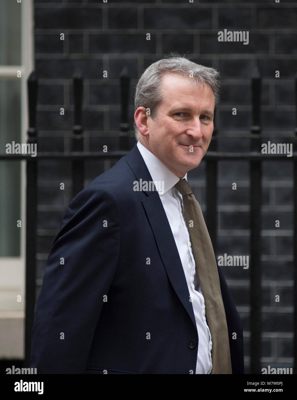 Downing Street, London, UK. 13 March 2018. Damian Hinds, Secretary of State for Education, arrives in Downing Street - Stock Image