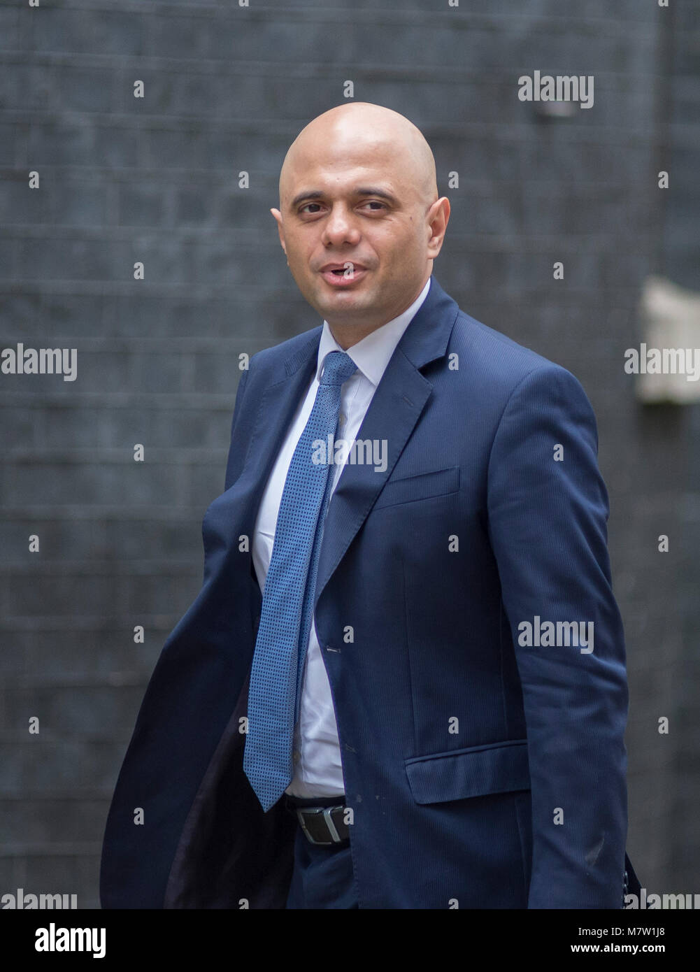 Downing Street, London, UK. 13 March 2018. Sajid Javid, Secretary of State for Housing, Communities and Local Government - Stock Image