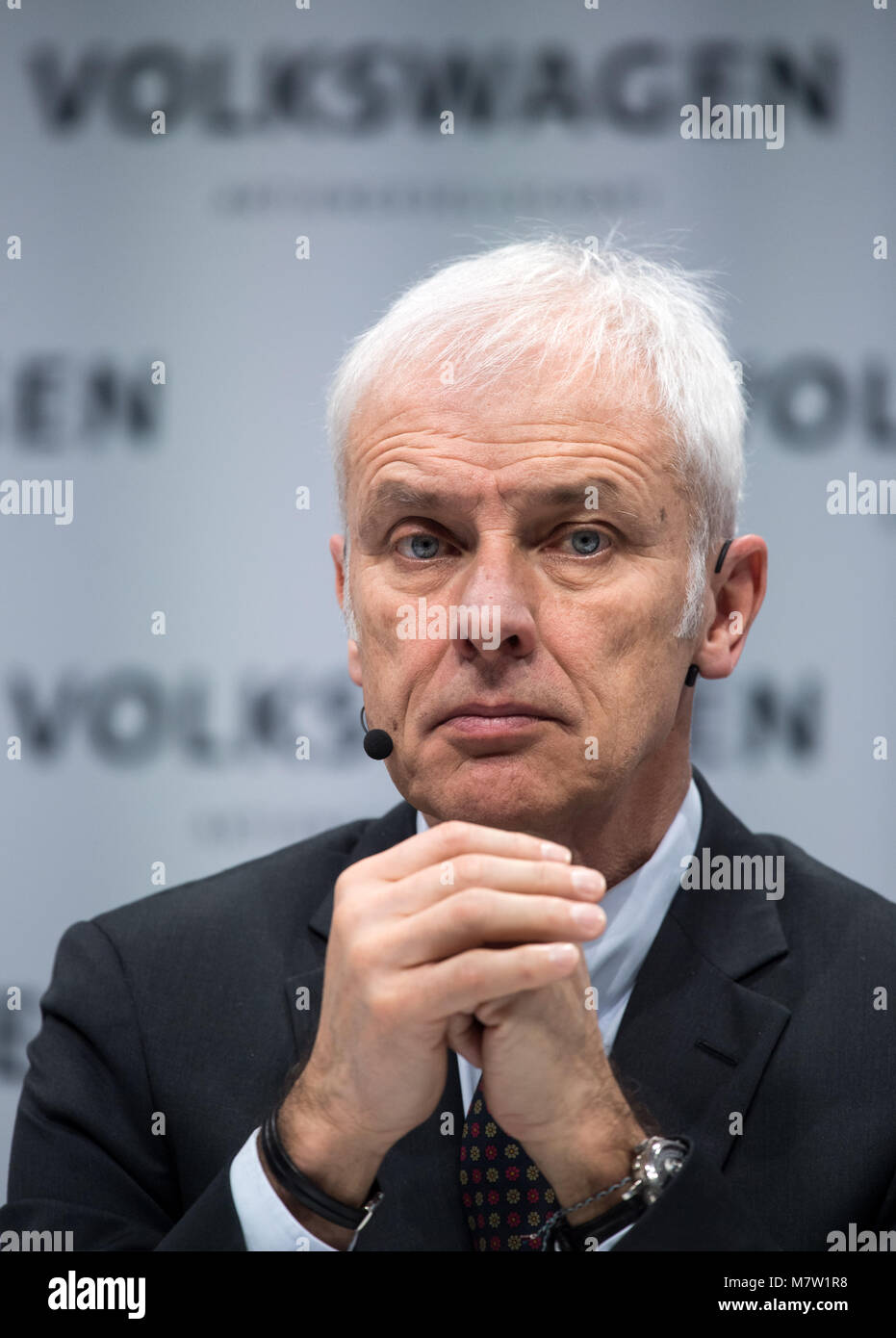 13 March 2018, Berlin: Matthias Mueller, chairman of the board of Volkswagen AG, presenting the automotive enterprise's Stock Photo