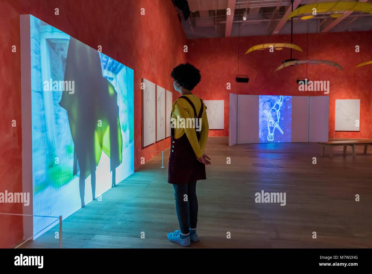 London, UK. 13th March, 2018. Stream or River, Flight or Pattern - Joan Jonas, Tate Modern opens largest survey Stock Photo