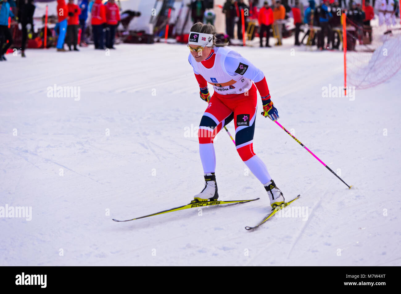 Cross country skier Mari Eide, Norway, at the 38. Engadin Skimarathon night sprint, 9 March 2018, St. Moritz, Switzerland - Stock Image