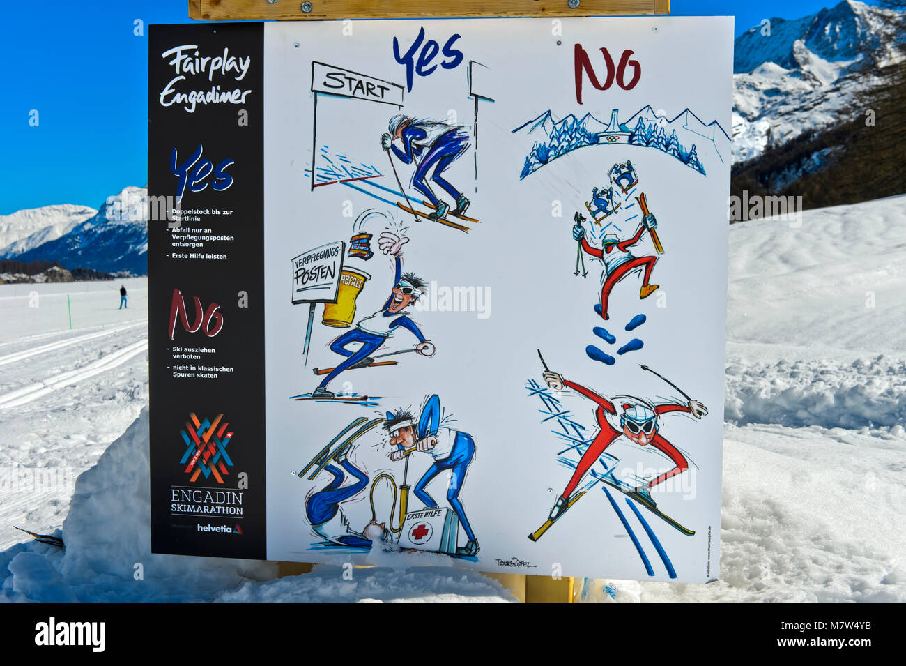 Signpost showing fair-play rules at the Engadin Skimarathon, Maloja, Engadin, Grisons, Switzerland - Stock Image
