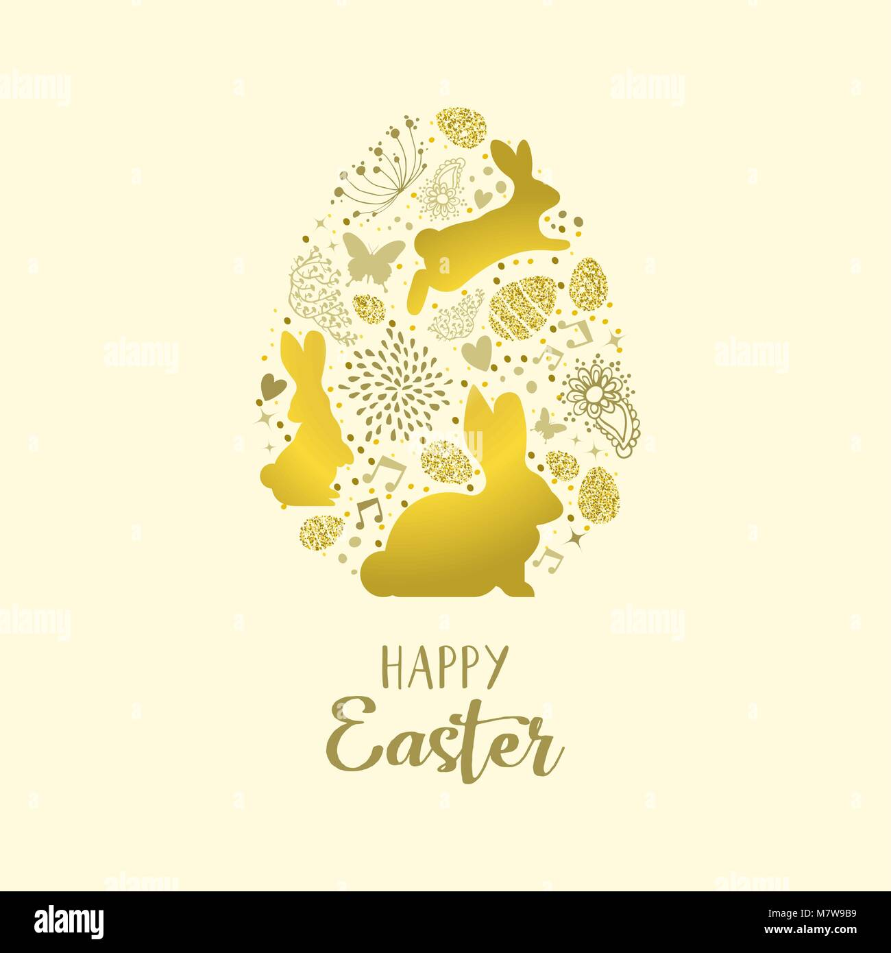 Happy easter holiday greeting card with gold glitter icons in egg happy easter holiday greeting card with gold glitter icons in egg stock vector art illustration vector image 176962445 alamy kristyandbryce Images