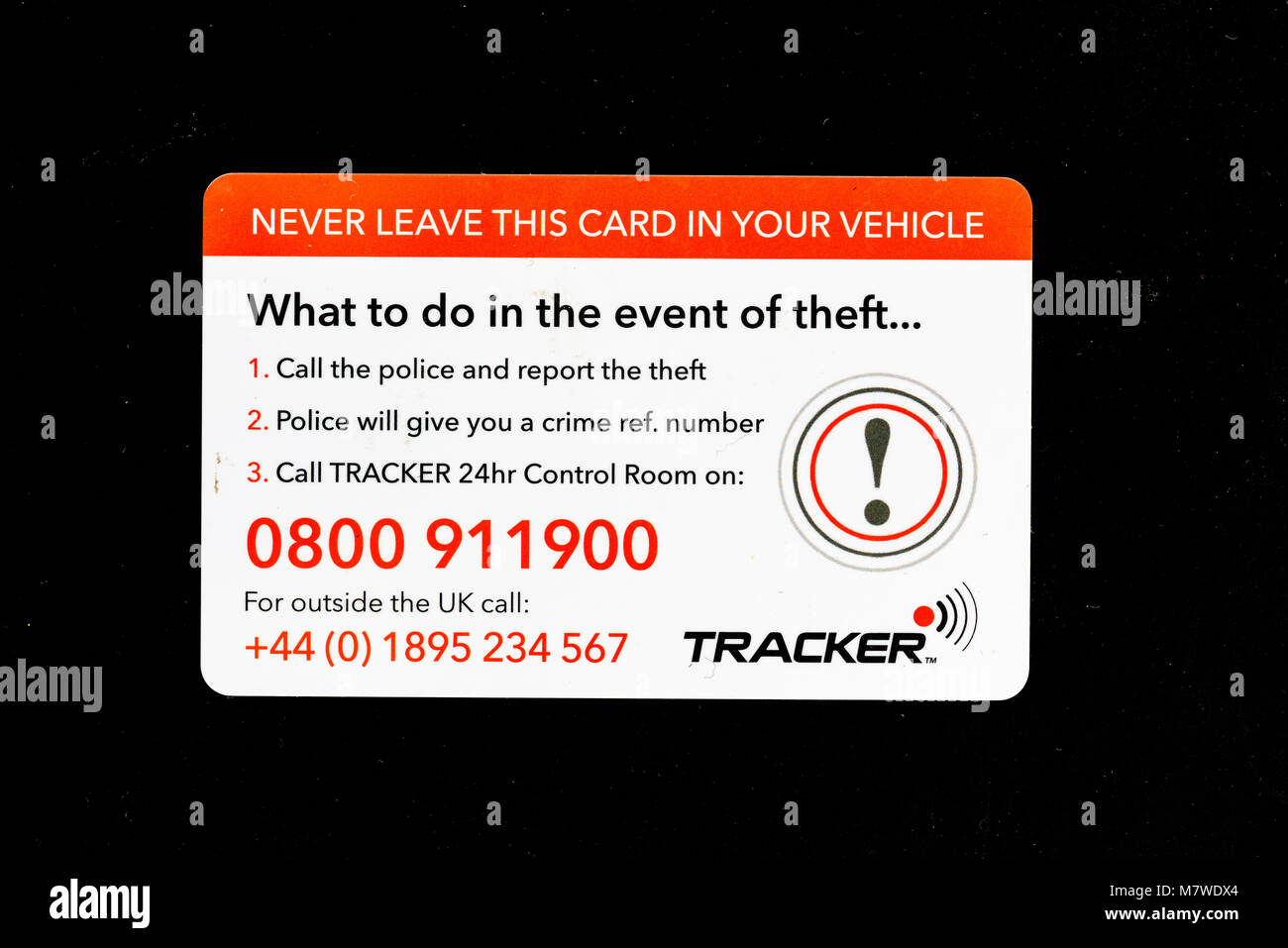 Plastic card, wallet size, of a vehicle tracked in case of theft, and giving information of what to do in the event - Stock Image