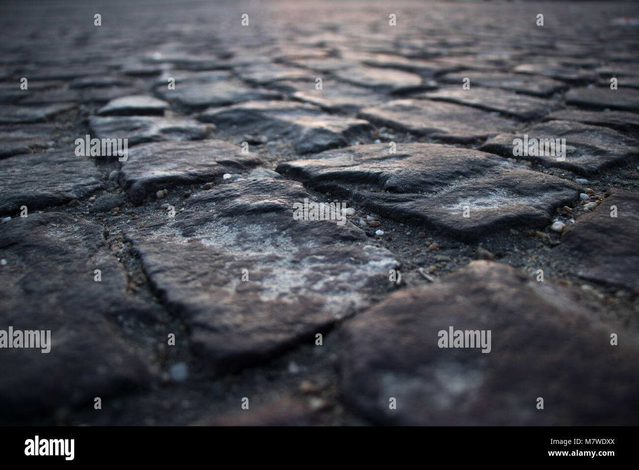 Cubic stone road close up scene - Stock Image