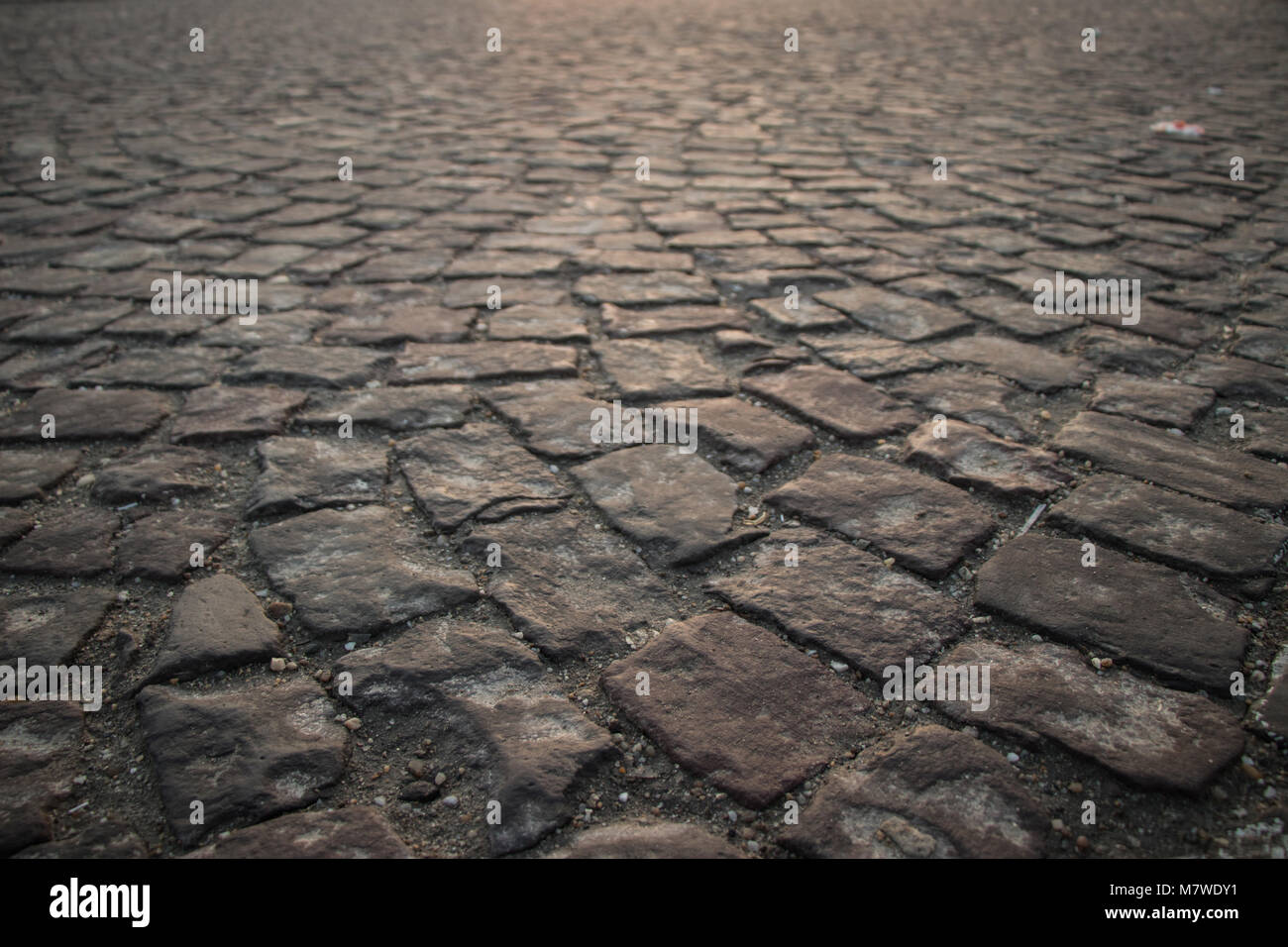Cubic stone road texture perspective - Stock Image