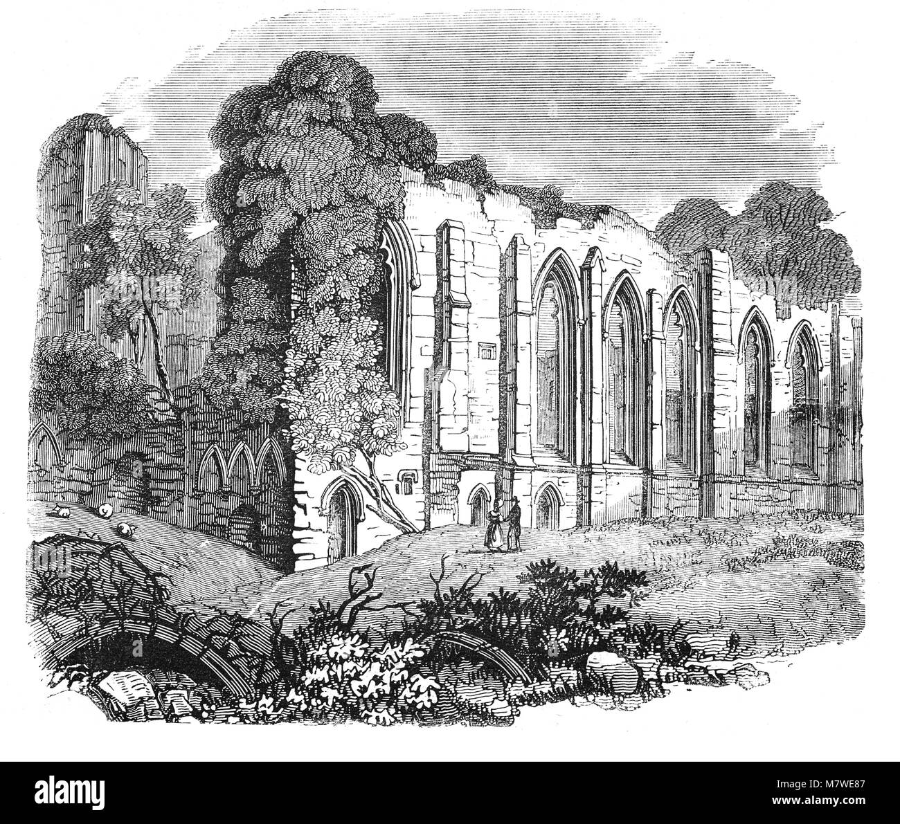 Easby Abbey or the Abbey of St Agatha is a ruined Premonstratensian abbey on the eastern bank of the River Swale - Stock Image