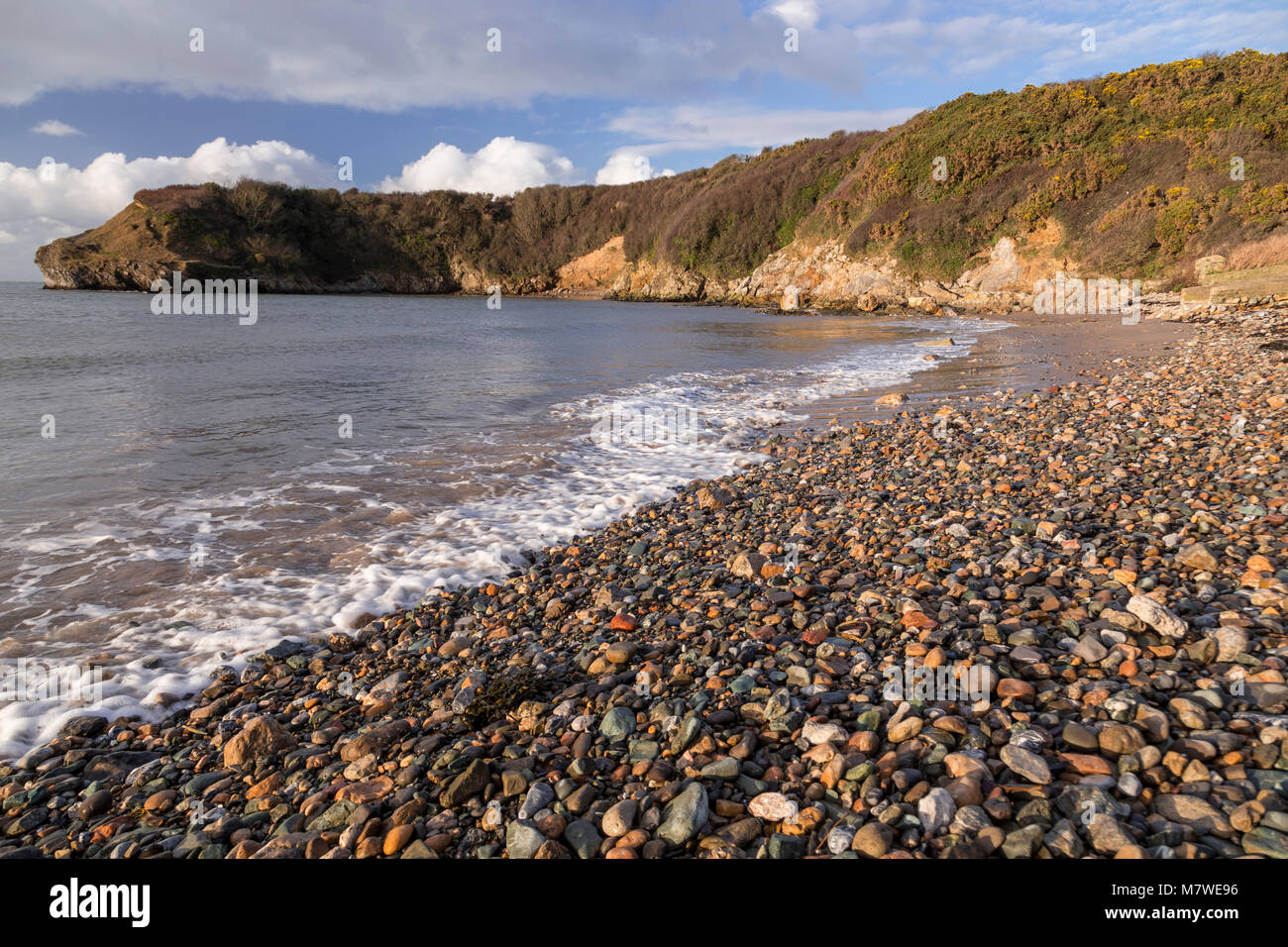 Pebble beach at Cemaes Bay, Anglesey, North Wales coastStock Photo