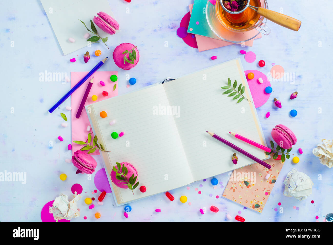 Colorful Flat Lay With An Open Book With Blank Pages Confetti Stock