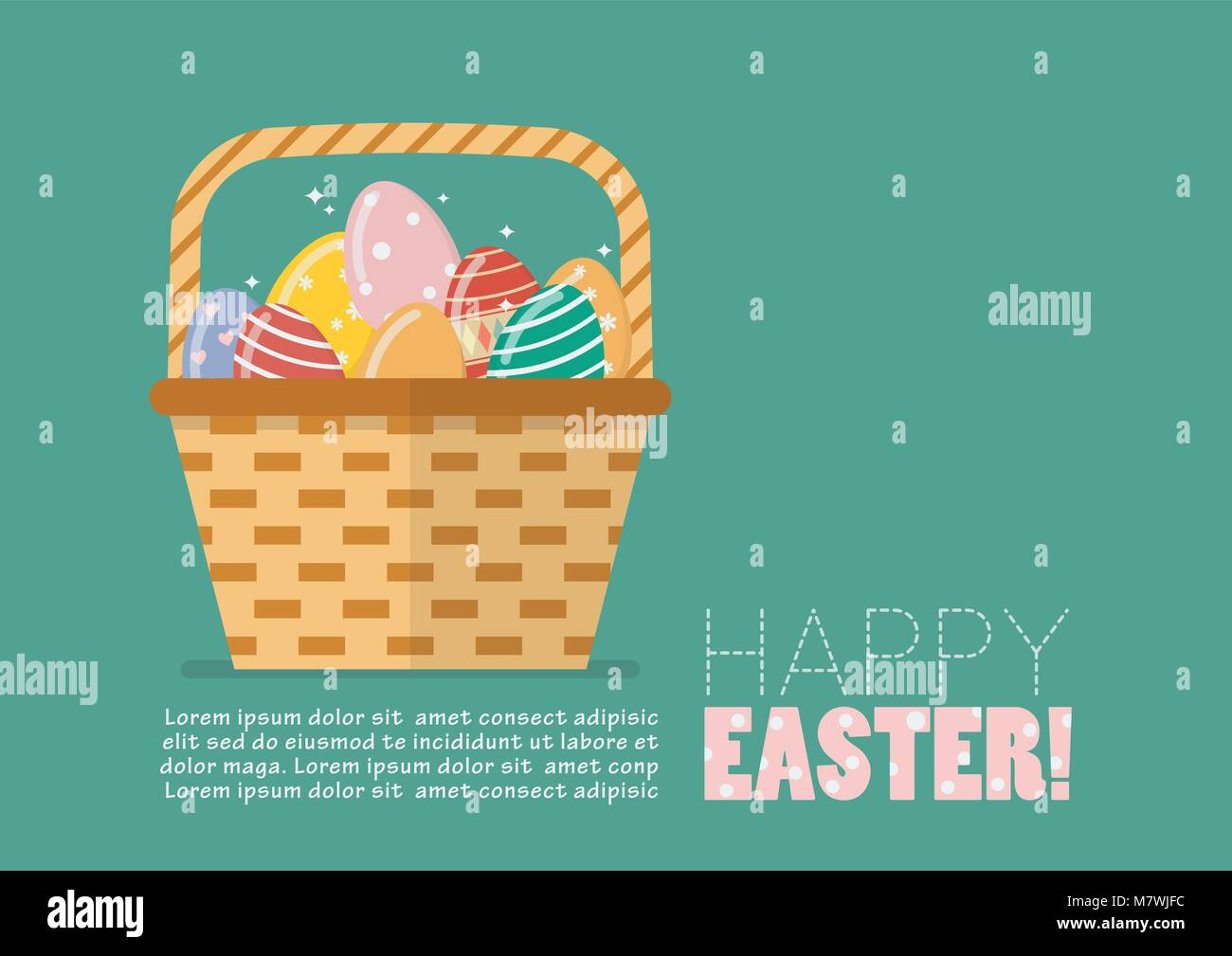 Happy Easter Greeting Card Easter Egg In Basket Vector