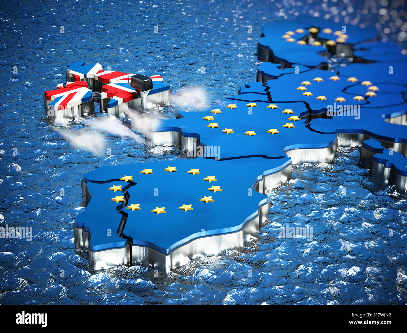 Britain map with boat engine leaving European Union. 3D illustration. - Stock Image
