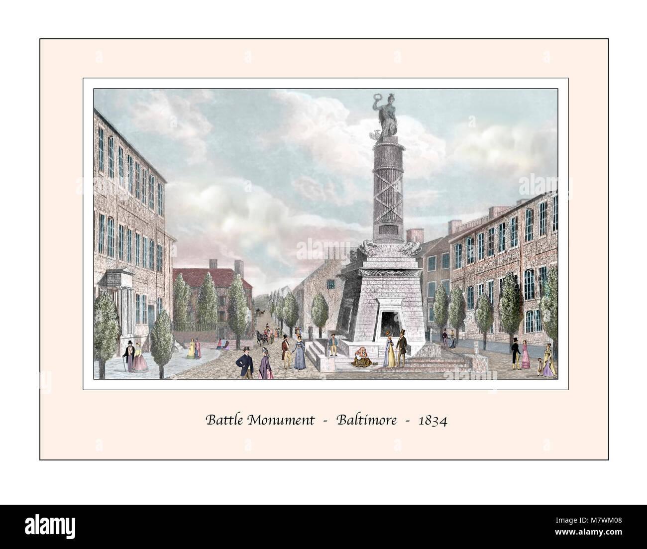 Battle Monument Baltimore Original Design based on a 19th century Engraving - Stock Image