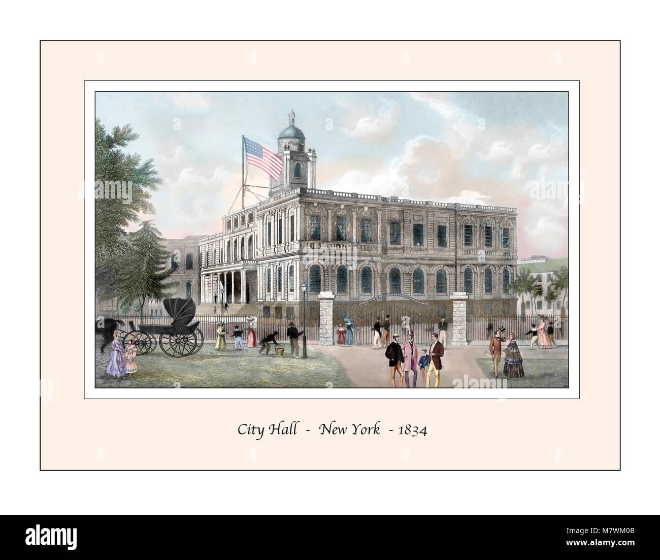 City Hall New York Original Design based on a 19th century Engraving - Stock Image