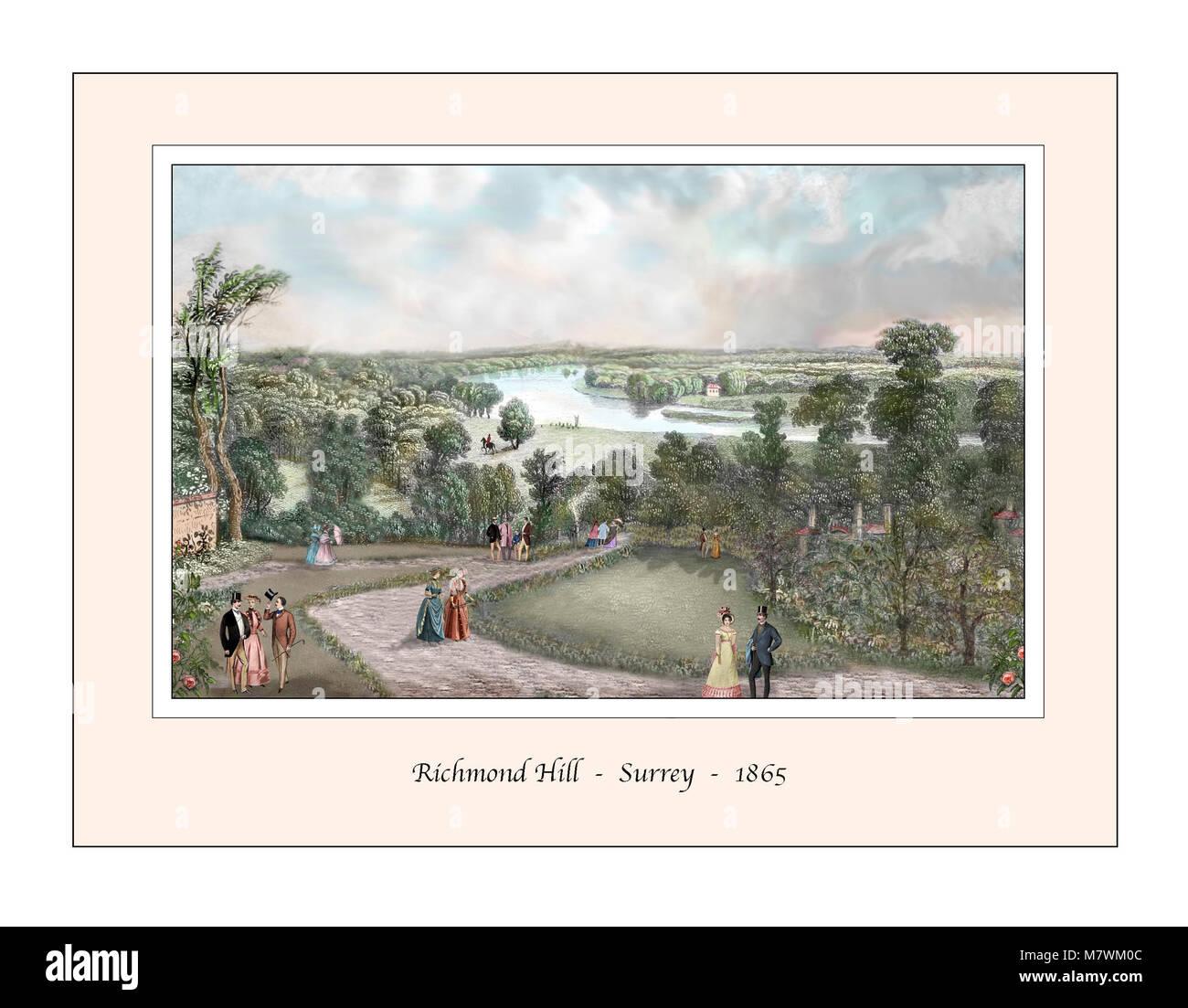 Richmond Hill Surrey Original Design based on a 19th century Engraving - Stock Image