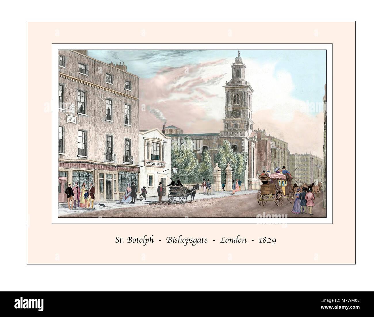 St. Botolph Bishopsgate London Original Design based on a 19th century Engraving - Stock Image