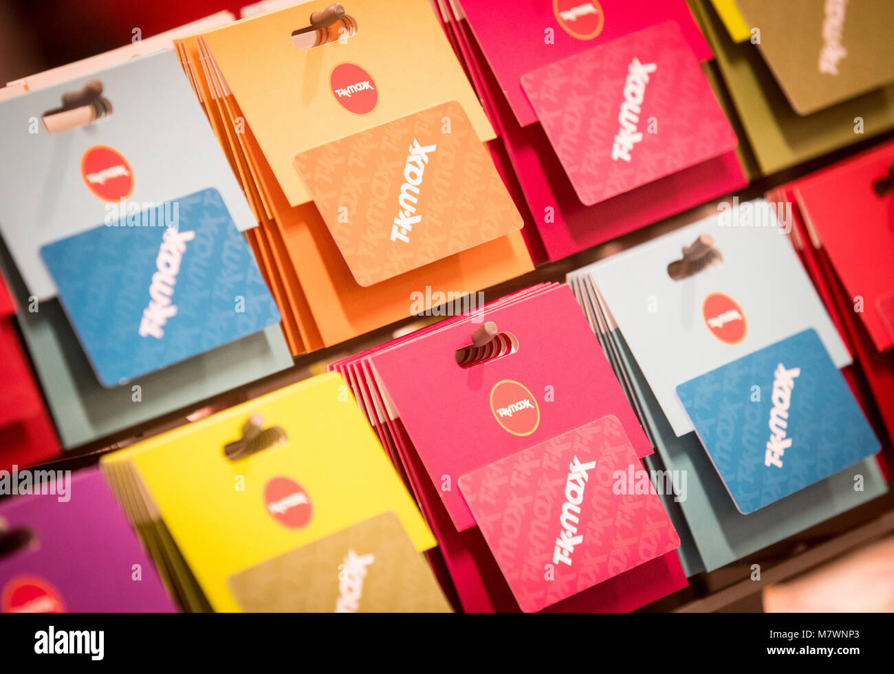 TK Maxx gift cards on display in a TK Maxx store - Stock Image