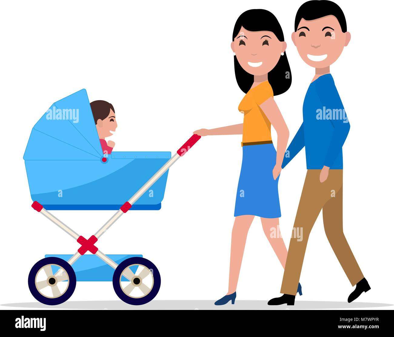 Vector couple parents with a stroller and a child - Stock Vector