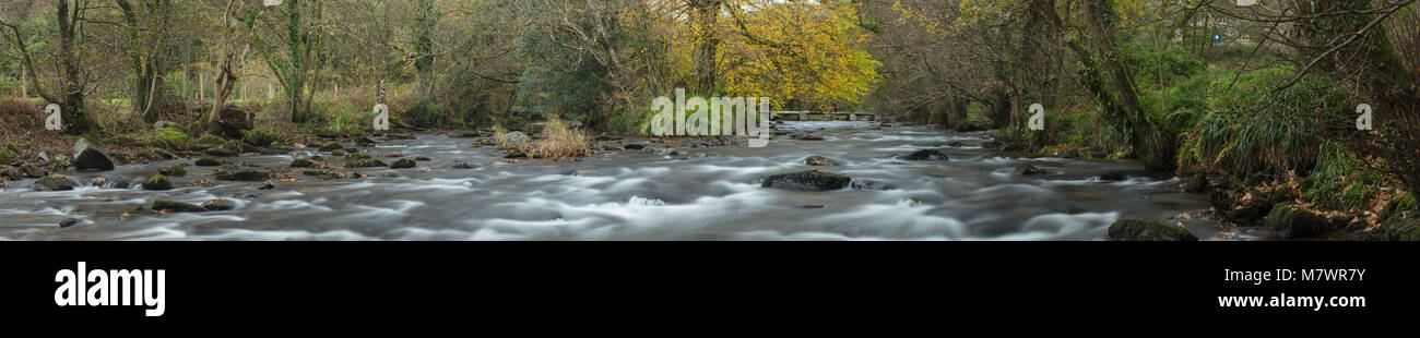 Autumn colours on the banks of the River Barle at Tarr Steps, Exmoor, Somerset, England Stock Photo