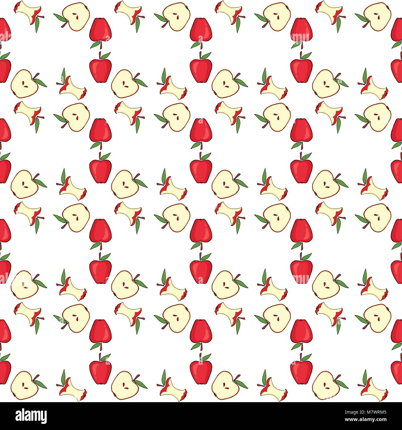 Red apple, core, half fruit. Seamless pattern background Vector illustration - Stock Vector