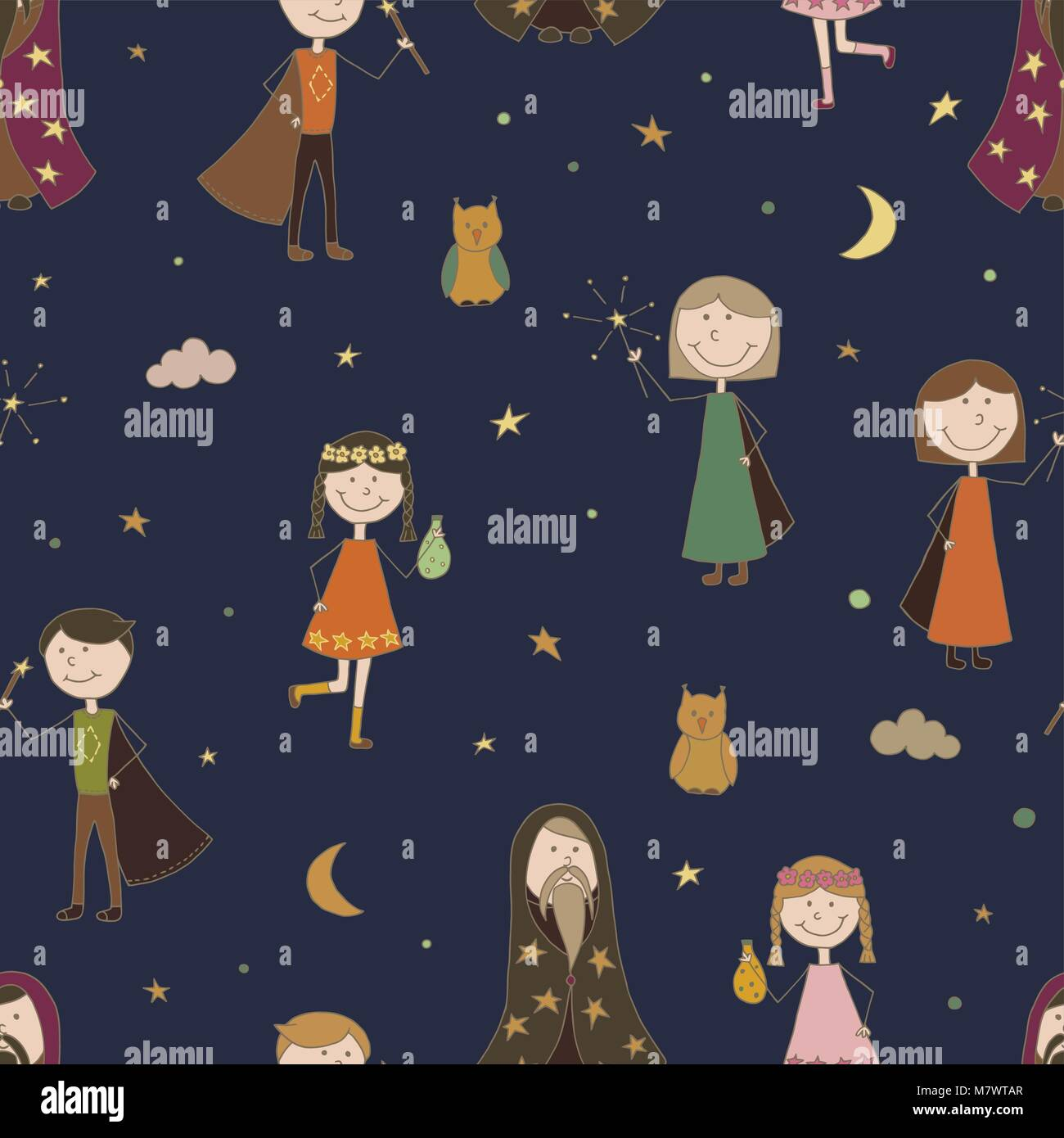 Seamless pattern background magic. Magician vector. The sorcerer child. Wallpaper Wizard
